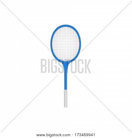 Tennis racket in retro design on white background