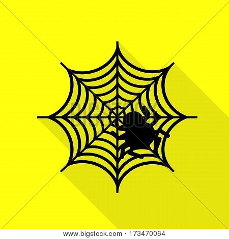 Spider on web illustration Black icon with flat style shadow path on yellow background.