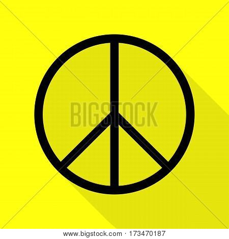 Peace sign illustration. Black icon with flat style shadow path on yellow background.