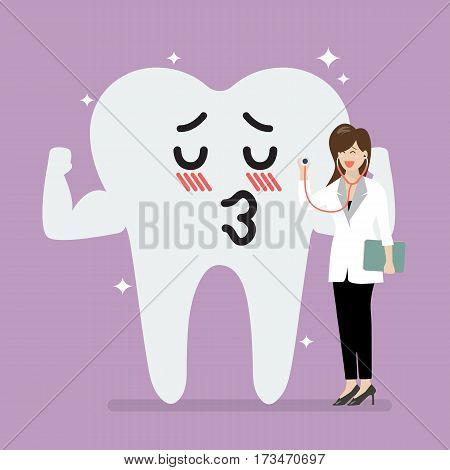 Female doctor holding stethoscope for checking up gallant tooth. Vector illustration
