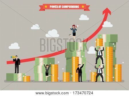 Power of compounding. Vector illustration business concept