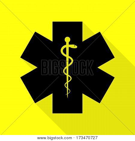 Medical symbol of the Emergency or Star of Life. Black icon with flat style shadow path on yellow background.