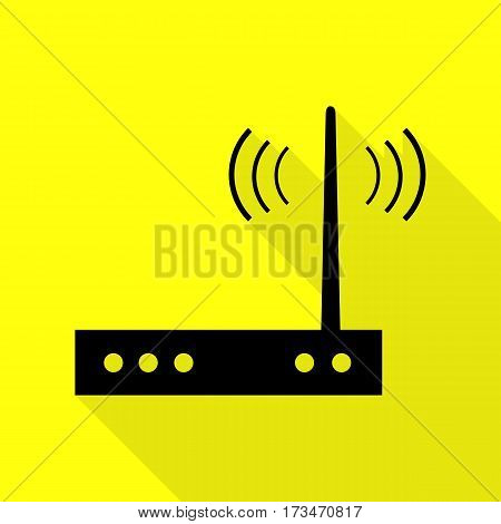 Wifi modem sign. Black icon with flat style shadow path on yellow background.
