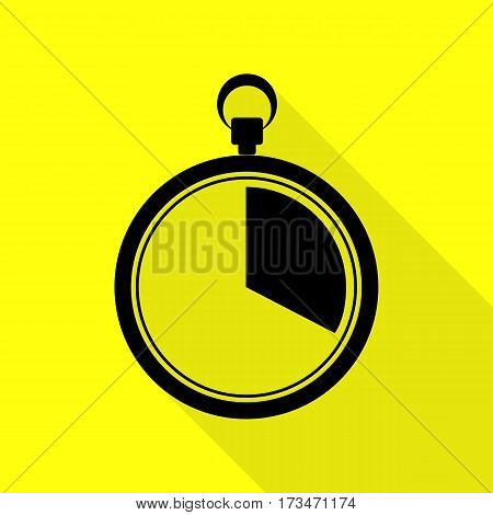 The 20 seconds, minutes stopwatch sign. Black icon with flat style shadow path on yellow background.