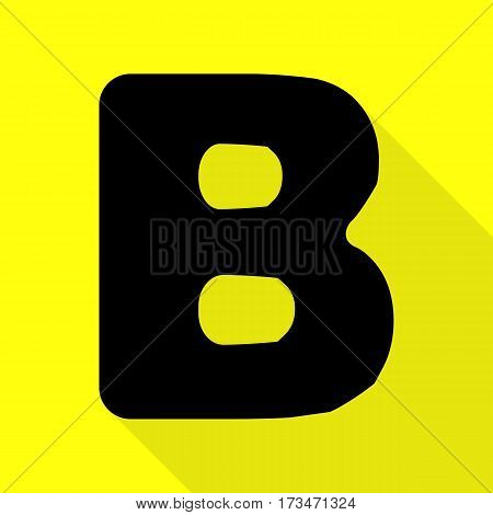 Letter B sign design template element. Black icon with flat style shadow path on yellow background.