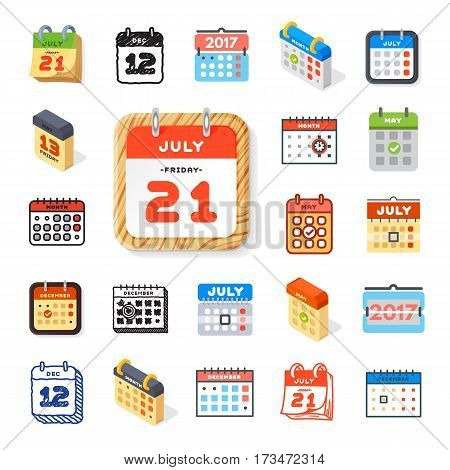 Vector calendar web icons office organizer set. Business graphic paper plan appointment pictogram. Reminder element for event meeting or deadline illustration.