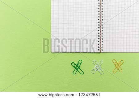 Lined Grid Note Paper With Paper Clip On Green Background, Memory Notepad Above View Photography In