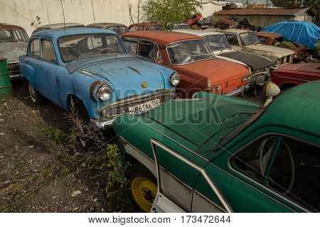 Moscow Russia - 13 Sept 2014: Retro car parking outdoor of the Museum of Industrial Culture.