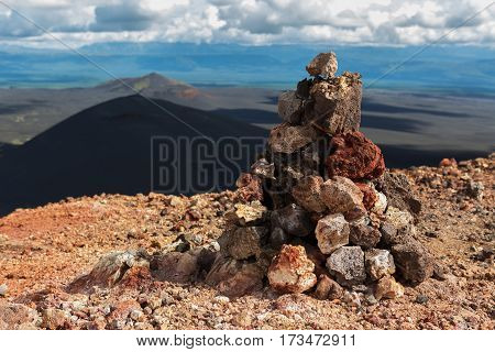 Cairn on top of the North Breakthrough Great Tolbachik Fissure Eruption 1975