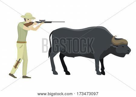 Bull farm animal safari hunter standing vector illustration. Cattle mammal nature beef agriculture. Domestic rural bovine horned cartoon buffalo.