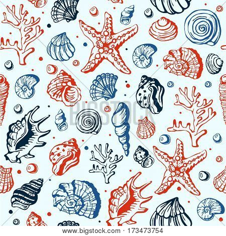 Sea marine animals and shells vector seamless pattern illustration. Spiral tropical mollusk decoration. Exotic snail aquarium beauty scallop nature seashell hand drawn sketch.