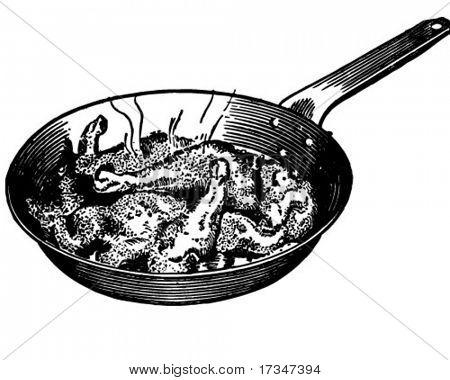 Chicken In Frying Pan - Retro Clipart Illustration