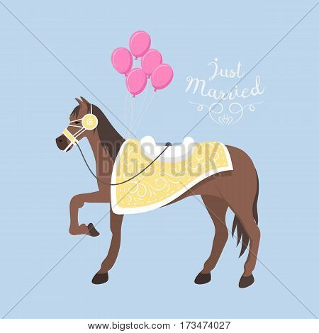 Wedding horse pony stallion isolated. Breed color farm equestrian vector. Collection mammal silhouette domestic animal. Just marriage love beautiful stallion.