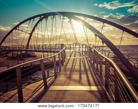 Beautiful Footbridge At Sunset In Melbourne, Australia
