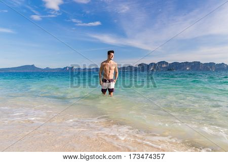 Young Man On Beach Summer Vacation, Guy Seaside Blue Water Sea Ocean Holiday Travel