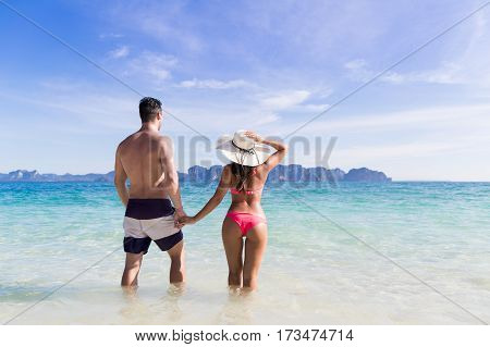 Young People On Beach Summer Vacation, Couple Walking Seaside Blue Water Sea Ocean Holiday Travel