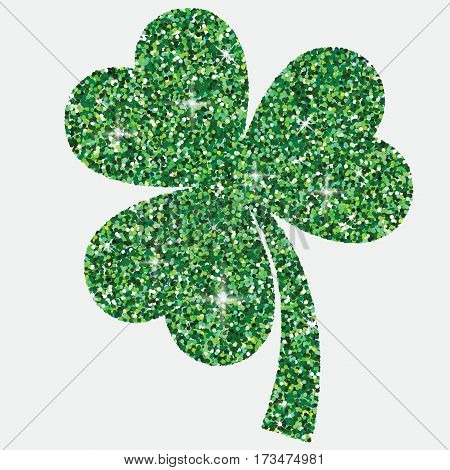 Shiny Iridescent Glitter Shamrock In Vector Format.