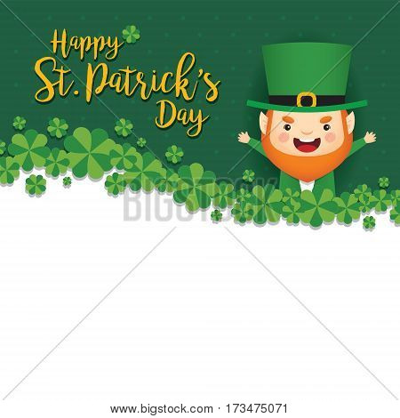 Happy St. Patrick's Day greeting card template. Cute Leprechaun with clovers on green polka dot background. 17 march vector illustration.