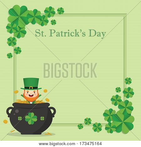 Happy St. Patrick's Day greeting card template. Cute Leprechaun with pot of gold on green clover background. 17 march vector illustration.