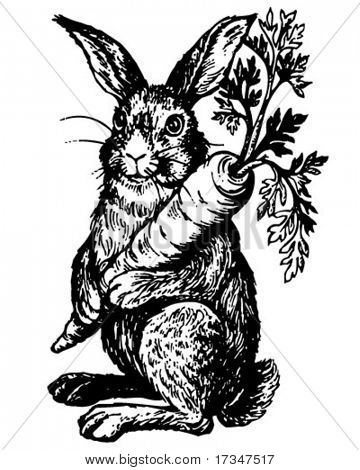 Rabbit Holding Carrot - Retro Clipart Illustration