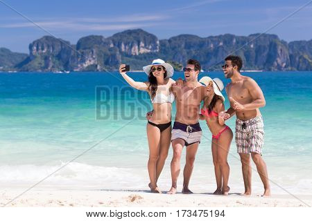 Young People Group On Beach Summer Vacation, Two Couple Happy Smiling Friends Taking Selfie Photo Sea Ocean Holiday Travel