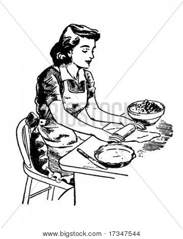 Rolling Dough - Retro Clipart Illustration