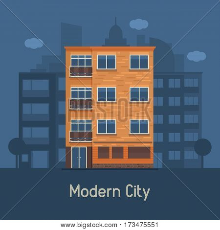 Apartment building front view on urban background. Multistory house on town landscape vector illustration. Bauhaus architecture urban home in flat design. Real estate agency in modern city concept.