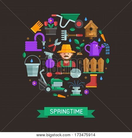 Springtime gardening and landscaping set in circle. Farming and growing plants elements collection with gardener, grass-cutter, wheelbarrow and other. Spring card with garden and lawn icons in flat.