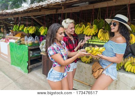 Girls Group Asian Fruits Street Market Buying Fresh Food, Young Friends Tourists Exotic Vacation Tropical Holiday