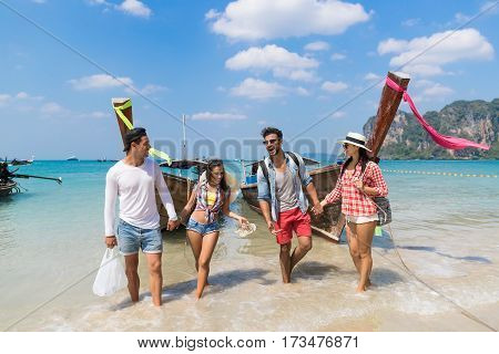 Young People Group Tourist Long Tail Thailand Boat Ocean Friends Sea Vacation Travel Trip Tropical Holiday
