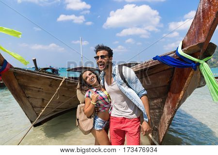 Young Couple Tourist Long Tail Thailand Boat Ocean Sea Vacation Travel Trip Tropical Holiday