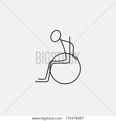 Stick figure man in wheelchair icon vector