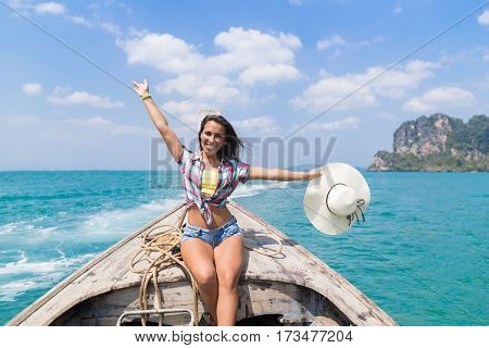 Young Girl Tourist Sail Long Tail Thailand Boat Ocean Sea Vacation Travel Trip Beautiful Nature