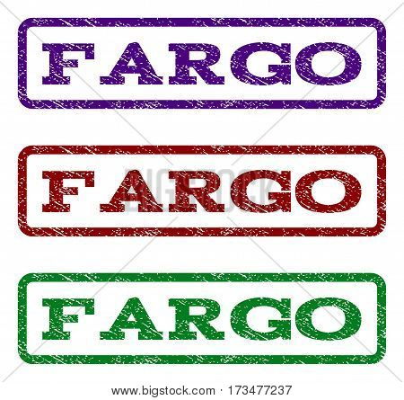 Fargo watermark stamp. Text caption inside rounded rectangle frame with grunge design style. Vector variants are indigo blue red green ink colors. Rubber seal stamp with unclean texture.