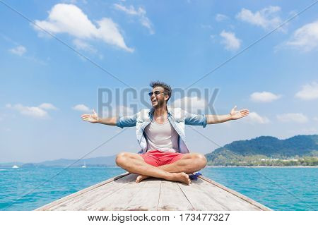 Young Man Tourist Sail Long Tail Thailand Boat Ocean Sea Vacation Travel Trip Beautiful Nature