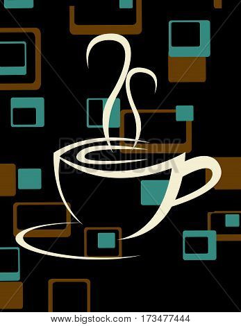 Coffee cup icon vector illustration with abstract background