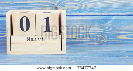 Vintage Photo, March 1St. Date Of 1 March On Wooden Cube Calendar