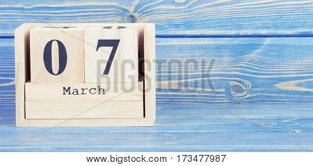 Vintage Photo, March 7Th. Date Of 7 March On Wooden Cube Calendar