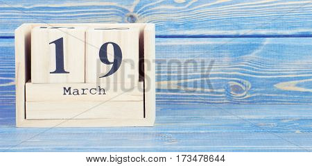 Vintage Photo, March 19Th. Date Of 19 March On Wooden Cube Calendar