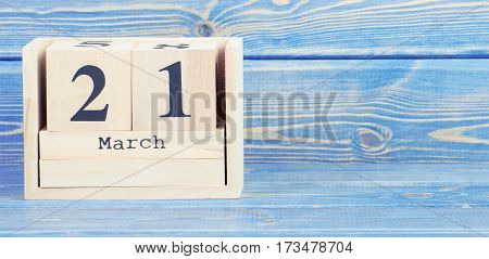 Vintage Photo, March 21Th. Date Of 21 March On Wooden Cube Calendar