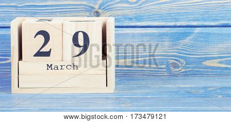 Vintage Photo, March 29Th. Date Of 29 March On Wooden Cube Calendar