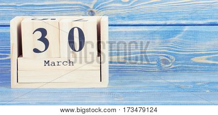 Vintage Photo, March 30Th. Date Of 30 March On Wooden Cube Calendar