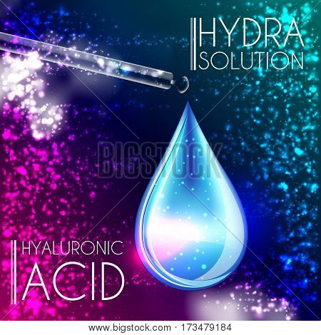 Hyaluronic Acid Oil Serum Essence 3D Droplet, Skincare Icon, Cosmetics Ads Template