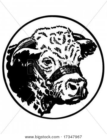Cow's Head - Retro Clipart Illustration