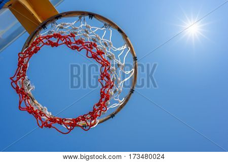 Close up of basketball hoop with blue sky