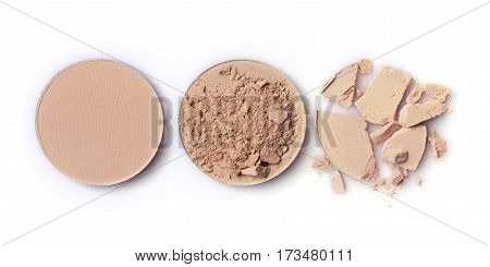 Beige Crashed Face Powder For Makeup As Sample Of Cosmetic Product