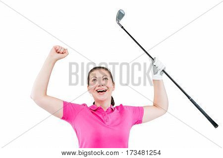 Jubilant Golfer Enjoys The Victory, The Portrait On A White Background