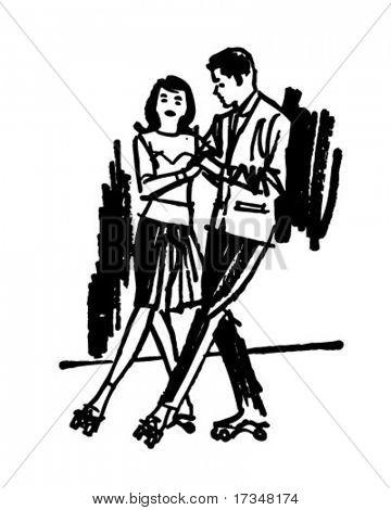Rollerskaters 2 - Retro Clipart Illustration