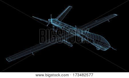 wireframe 3d render of military drone or UAV