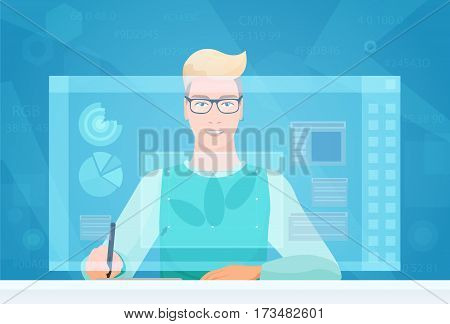 Designer man working using virtual media interface. Designer Artist working with graphic program virtual screen drawing